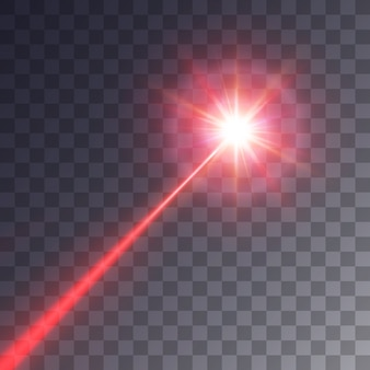 Roter laserstrahl lokalisiert auf transparentem hintergrund