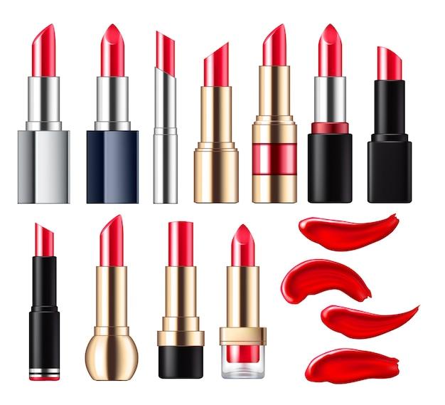 Roter lippenstift mit flecken eingestellt.