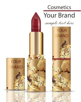 Roter lippenstiftkosmetik-realistischer spott oben. mattes lipgloss mit ornamentdekor, originelles design der goldenen verpackung. goldfarben
