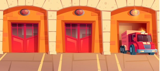 Roter lkw, der feuerwache-garagenbox verlässt. auto mit signalisierung beim notruf vom feuerwehrhaus. städtischer stadtdienst, abteilungshangars mit nahen und offenen türen karikaturillustration