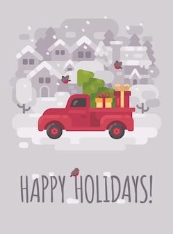 Roter lkw mit einem weihnachtsbaum in einem winterdorf. weihnachtsgrußkarte flach krank