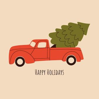 Roter lkw mit weihnachtsbaum frohe feiertage grußkarte
