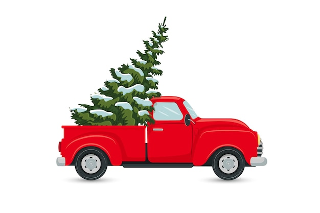 Roter lkw mit weihnachtsbaumpostkarte isoliert auf weißem hintergrund vector flat style illustration