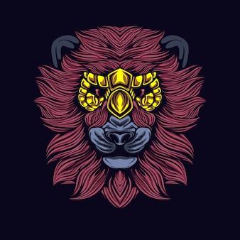 Roter löwe mit maske