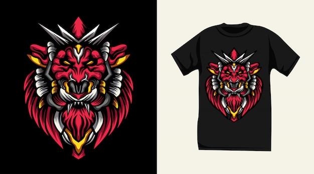 Roter löwe monster t-shirt design