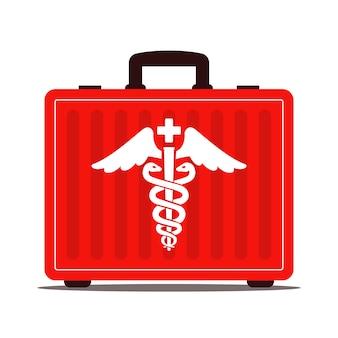 Roter medizinischer koffer mit drogen