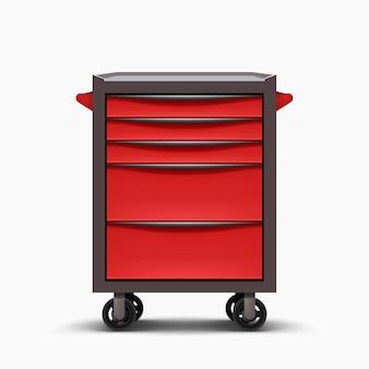 Roter metallfrontansicht-werkzeugschrank isoliert