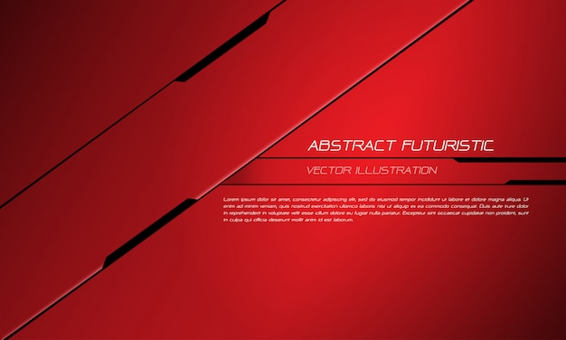 Roter metallischer schwarzer linie futuristischer designhintergrund der technologie.
