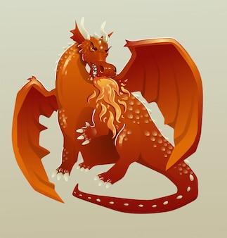 Roter mittelalterlicher drache, der feuer atmet