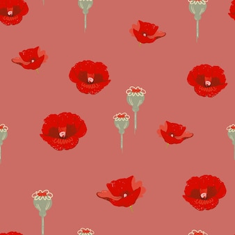 Roter mohnblumenmusterhintergrund
