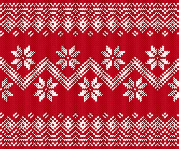 Roter nahtloser druck stricken. weihnachtsmuster. vektor-illustration.