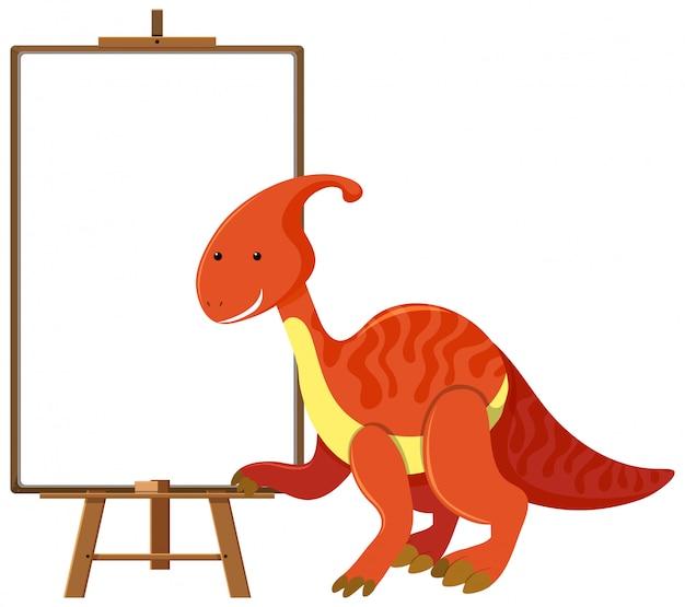 Roter niedlicher dinosaurier mit leerem banner auf weißem hintergrund