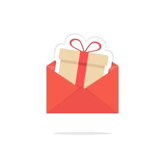 Roter offener brief mit geschenkboxkarte