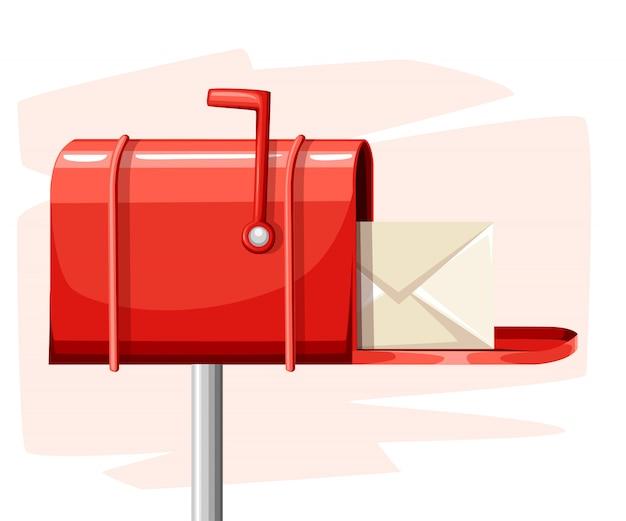 Roter offener briefkastenpost mit post in der artillustration auf weißer hintergrundwebseite und mobiler app