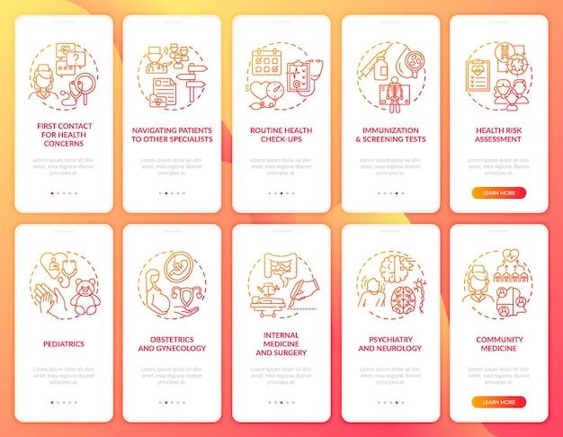 Roter onboarding-bildschirm der mobilen app des hausarztes mit festgelegten konzepten