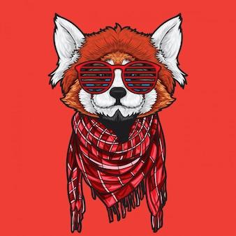 Roter panda-hipster