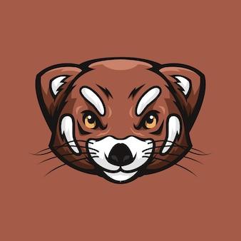 Roter panda-kopf-logo oder illustration