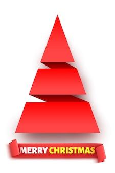 Roter papierweihnachtsbaum und -band.