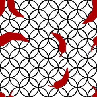 Roter pfeffer auf nahtlosem muster des geometriehintergrundvektors. scharfes gemüse mit mexikanischem chili. scharfe paprika-textur.