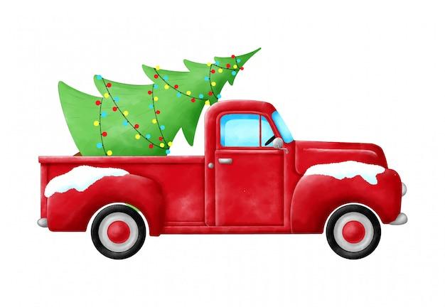 Roter pickup mit weihnachtsbaum lokalisiert