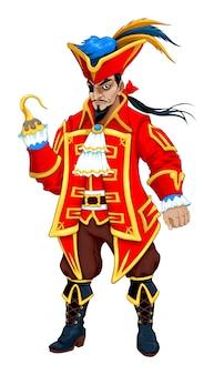 Roter pirat mit haken