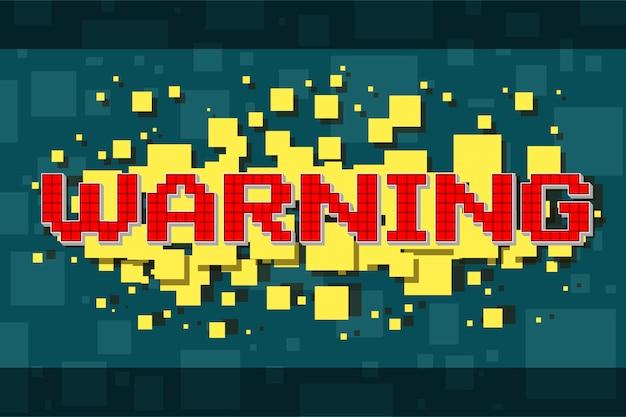 Roter pixel-warnknopf für videospiele