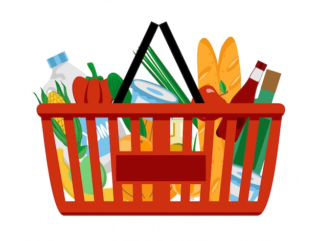 Roter plastikeinkaufskorb voller lebensmittelprodukte. einkaufen im supermarkt.