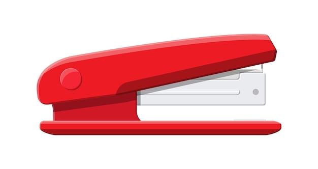Roter plastikhefter. vorrichtung zum befestigen von blechen. büro- und schulausstattung, schreibwaren.