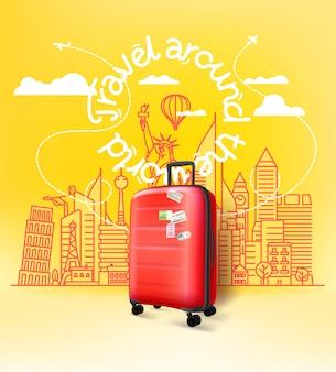 Roter plastikkoffer mit abstraktem stadtbild mit berühmten sehenswürdigkeiten. herumreisen