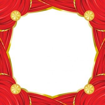 Roter quadratischer weinleserahmen mit rotem vorhangeffekt.