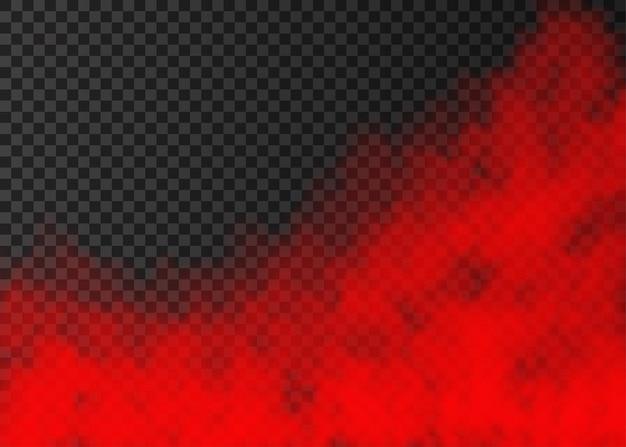Roter rauch auf transparentem hintergrund isoliert. dampf-spezialeffekt. realistischer bunter vektorfeuernebel oder nebelbeschaffenheit.