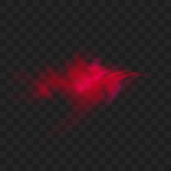 Roter rauch oder nebelfarbe isoliert. abstrakte rote pulverexplosion mit partikeln. bunte staubwolken explodieren