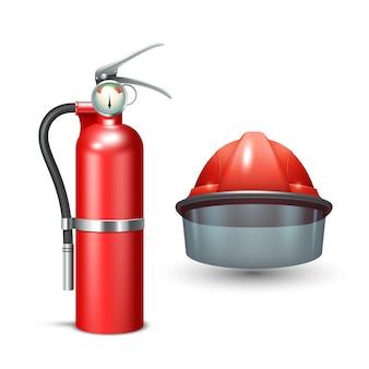 Roter realistischer feuerwehrmannsturzhelm und feuerlöscher