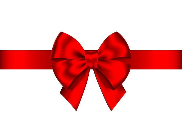Roter realistischer geschenkbogen mit horizontalem band lokalisiert