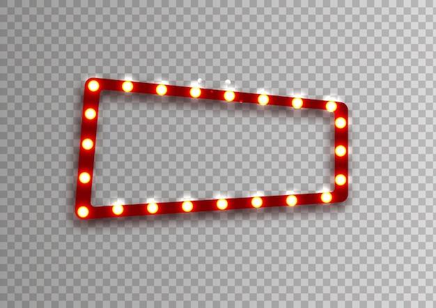 Roter rechteckiger retro-rahmen mit glühenden lampenvektorillustration mit leuchtenden lichtern in der weinlese