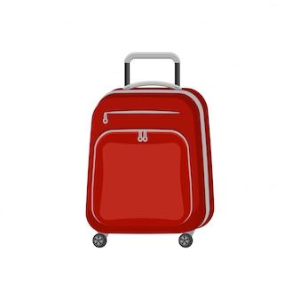 Roter reisetaschenkoffer auf weiß