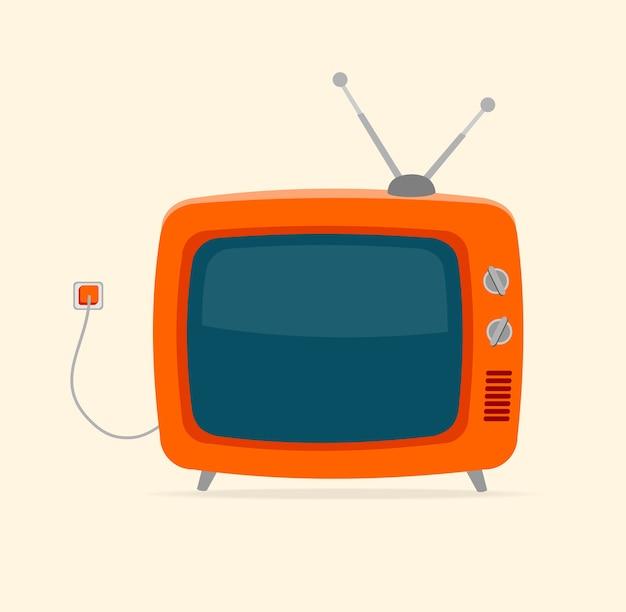 Roter retro-fernseher mit draht und winziger antenne lokalisiert auf weißem hintergrund.