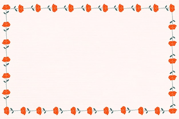 Roter rosenblumenrahmen-gestaltungsraum