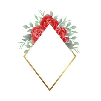 Roter rosenrahmen mit goldener verzierung