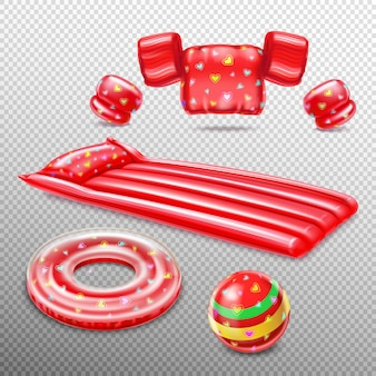Roter satz der aufblasbaren objekte der schwimmzubehörillustration Kostenlosen Vektoren