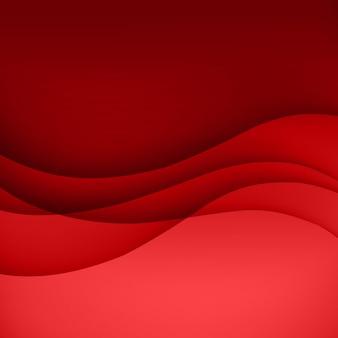 Roter schablonen-abstrakter hintergrund mit kurvenlinien und schatten. für flyer, broschüren, broschüren, websites