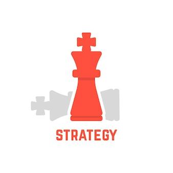 Roter schachkönig mit gefallener figur. konzept des besiegten gegners, angriff, planung, taktik, bossfähigkeit. isoliert auf weißem hintergrund. flat style trend moderne logo design vector illustration
