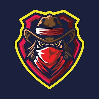 Roter schal bandit esport logo illustration