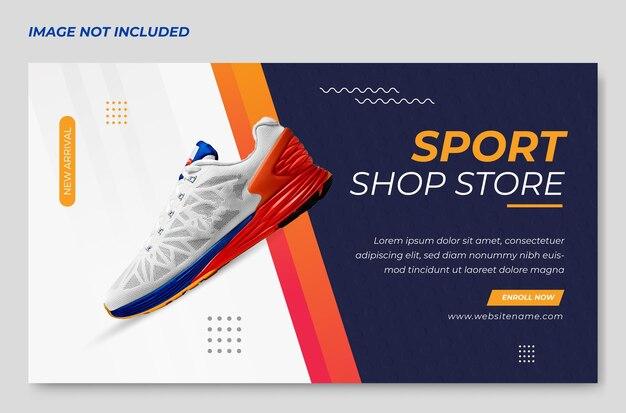 Roter schuh sport banner design banner design premium template vector
