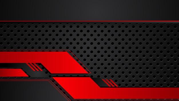 Roter schwarzer abstrakter metallischer rahmenplan-designtechnologieinnovations-konzepthintergrund