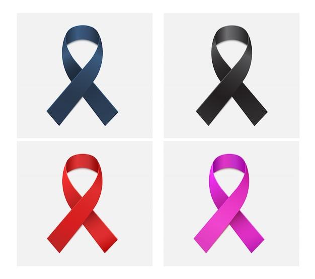 Roter, schwarzer, blauer, rosa farbbandvektor