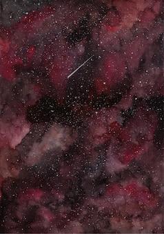 Roter schwarzer galaxie-aquarellhintergrund