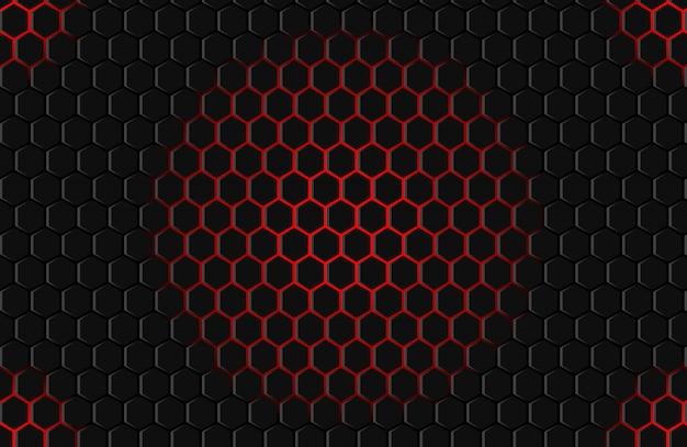 Roter schwarzer hexagonhintergrund