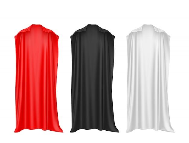 Roter, schwarzer, weißer umhang des superhelden lokalisiert auf weißem hintergrund.