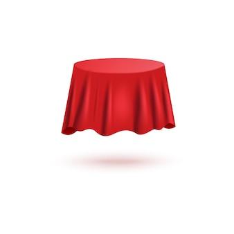 Roter seidenvorhangbezug in runder tischform mit realistischer stoffstruktur